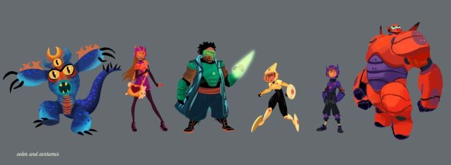 """BIG HERO 6"" – Visual development artist Lorelay Bove created character lineup concept art to showcase the ""Big Hero 6"" team. Pictured (L-R): Fred, Honey Lemon, Wasabi, Go Go Tomago, Hiro Hamada & Baymax. ©2014 Disney. All Rights Reserved."